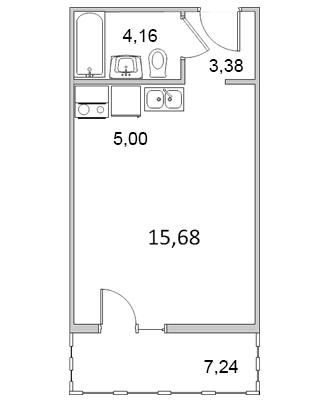 Планировка Однокомнатная квартира площадью 32.34 кв.м в ЖК «Павловский»