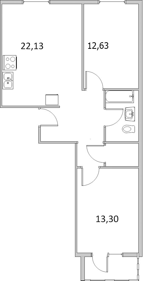 Планировка Двухкомнатная квартира площадью 65.87 кв.м в ЖК «Павловский»